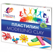 Пластилин классический Луч Классика 10 цветов 200 г со стеком 7С304-08