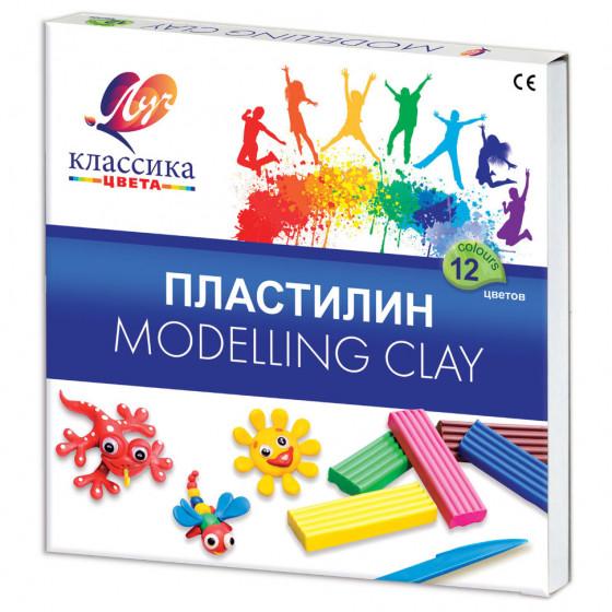 Пластилин классический Луч Классика 12 цветов 240 г со стеком 7С331-08