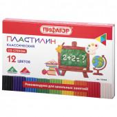 Пластилин классический Пифагор Школьный 12 цветов 180 г со стеком 105434