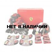 Роликовые коньки раздвижные Ferrari набор с защитой и шлемом FK11-1 (красный/черный)