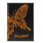 Обложка на паспорт Befler Бабочка из натуральной кожи O.14.-11