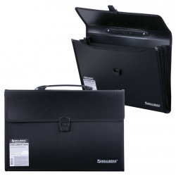 Папка портфель А4+ для документов пластиковая Brauberg 3 отделения 221389
