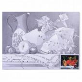 Холст грунтованный на картоне с контуром Brauberg Art Classic Натюрморт 30х40 см, хлопок 190626