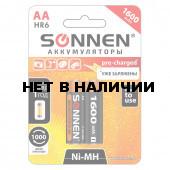 Батарейки аккумуляторные Sonnen HR06 (АА) Ni-Mh 1600 mAh 2 шт (454233)