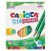 Карандаши цветные стираемые с резинкой Carioca Erasable 24 цвета 42938