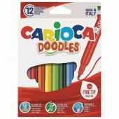 Фломастеры суперсмываемые Carioca Doodles 12 цветов 42314