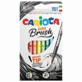 Фломастеры смываемые с наконечником-кистью Carioca Super Brush 10 цветов 42937