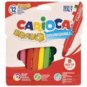 Фломастеры суперсмываемые утолщенные Carioca Bravo 12 цветов 42755