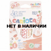 Фломастеры штампы смываемые двусторонние Carioca Stamperello 6 цветов 42279