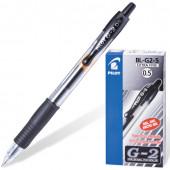 Ручка гелевая автоматическая с грипом Pilot G-2 линия 0,3 мм черная BL-G2-5