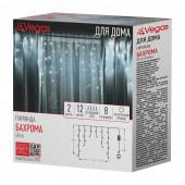 Светодиодная гирлянда для дома (холодный свет) Vegas Бахрома 48 LED, 12 нитей, 2х0,6 м, 220V 55113