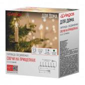 Светодиодная гирлянда для дома (теплый свет) Vegas Свечи на прищепках 6 LED 1,5 м 220V 55127