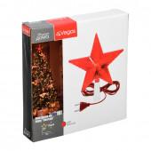 Верхушка на елку светодиодная для дома Vegas Звезда 10 красных LED, 3м, 15х15 см, 220V 55097