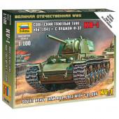 Сборная модель Звезда Тяжелый советский танк КВ-1 с пушкой Ф-32 образца 1941 (1:100) 6190