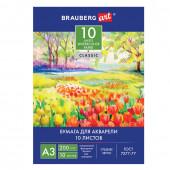 Папка для акварели А3 Brauberg Art Classic Весна 10 листов, 200 г/м2, мелкое зерно 111063
