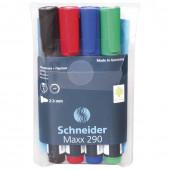 Маркеры для доски и флипчарта Schneider Maxx 290 линия 2-3 мм 4 цвета 129094