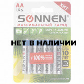 Батарейки алкалиновые Sonnen Super Alkaline LR6 (АА) 4 шт 451094