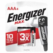 Батарейки алкалиновые Energizer Max LR03 (AAA) 4 шт E300157304