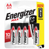 Батарейки алкалиновые Energizer Max Промо 3+1, LR06 (AA) 4 шт E300247800S