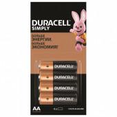 Батарейки алкалиновые Duracell Simply LR06 (AA) 4 шт 5009139