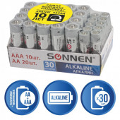 Батарейки алкалиновые Sonnen Alkaline LR6+LR03 (AA+ААА) 30 шт 455097