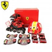 Роликовые коньки раздвижные Ferrari набор с защитой и шлемом FK11-1 (белый/черный)