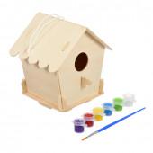 Скворечник для птиц сборный Blumen Haus Домик с красками и кисточкой 65702