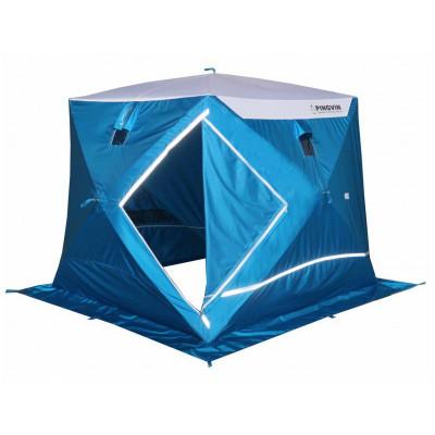 Зимняя палатка куб Пингвин Призма Премиум Strong двухслойная (белый/оранжевый)
