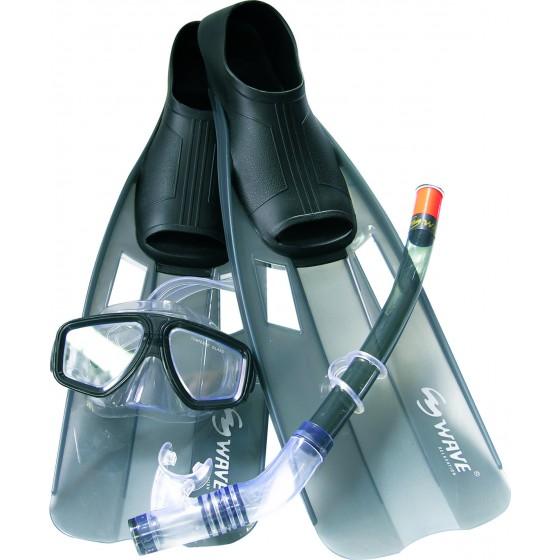 Набор маска,трубка,ласты WAVE MSF-1314S6F35 силикон,черный
