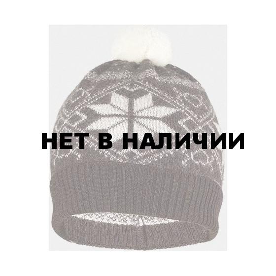 Шапка детская Norveg цвет коричневый с белыми снежинками (текстильный помпон) 7CWU-018
