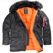 Куртка Slim Fit N-3B Parka black/orange w/black fur Alpha Indust