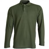 Рубашка Поло с длинным рукавом темно-зеленая