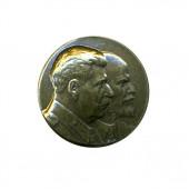 Нагрудный знак Ленин-Сталин черненый металл