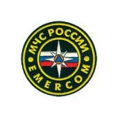 Нашивка на рукав МЧС России Emercom диам 52мм вышивка шелк