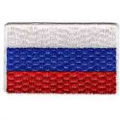 Термонаклейка -0459.1 Флаг России средний вышивка