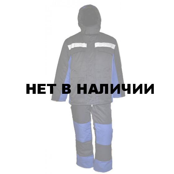 Костюм зимний УРАЛ удлиненный с полукомбинезоном синий арт.6153-10