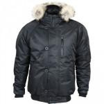 Куртка Аляска укороченная черная твил натуральный мех