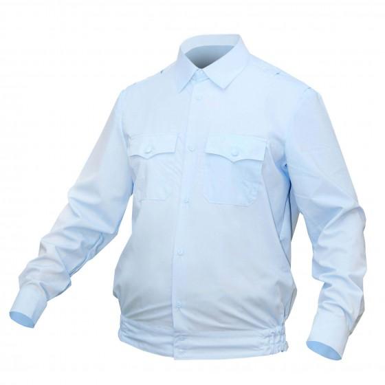 Рубашка ПОЛИЦИЯ серо-голубая с длинным рукавом на резинке