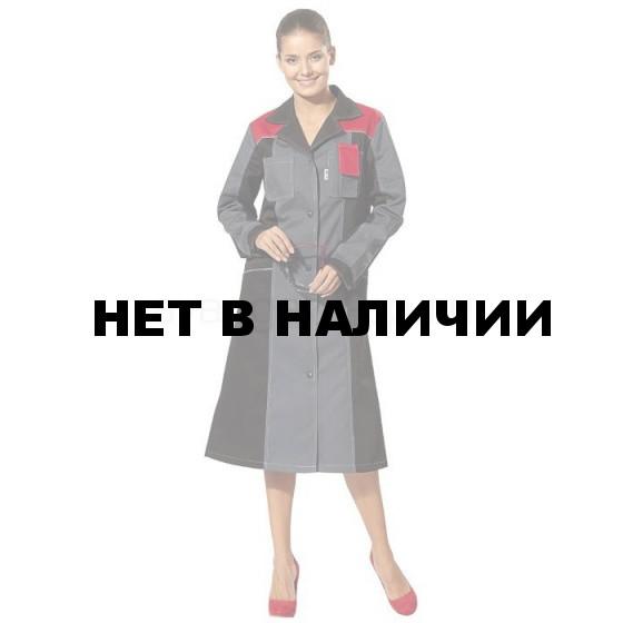 Халат женский Виват, ткань смесовая (сер.+черн.+красн.)
