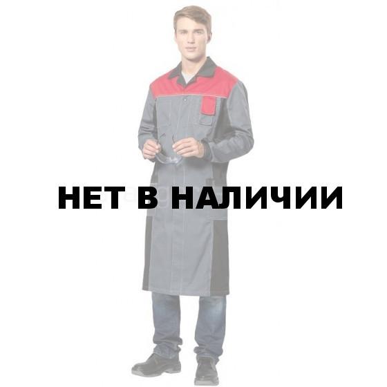 Халат мужской Виват, ткань смесовая (сер.+черн.+красн.)