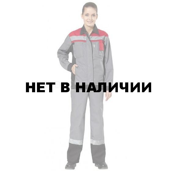 Костюм женский Виват с полукомбинезоном (ткань смесовая) сер.+черн.+красн.
