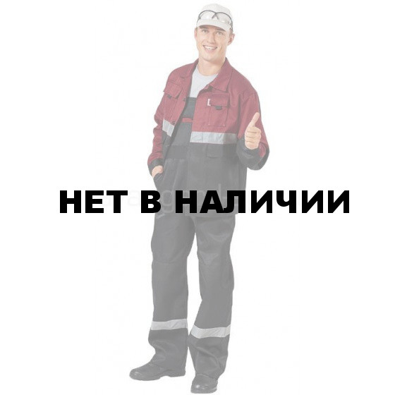 Костюм Навигатор, ткань смесовая с полукомбинезоном (черный+бордовый) РАСПРОДАЖА