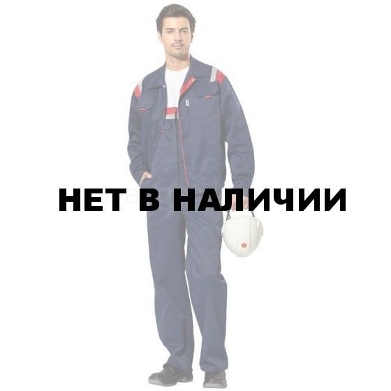 Костюм мужской Авангард с полукомбинезоном, ткань смесовая (темно-синий+ красная отделка и СОП)