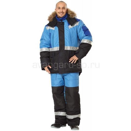 Костюм Гранд (куртка + полукомбинезон) василек+черный с утеплителем Thinsulate РАСПРОДАЖА