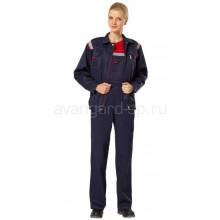Костюм женский Авангард с полукомбинезоном, ткань смесовая (темно-синий+ красная отделка и СОП)