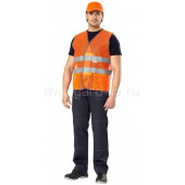 Жилет сигнальный с СОП Луч оранжевый (ткань сетка)