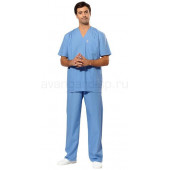 Комплект одежды медицинской мужской универсальный(блуза и брюки (голубой))