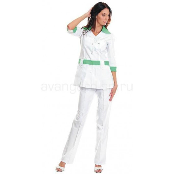 Комплект одежды медицинской женской Каприз(блуза и брюки (цв.бел.+салатовый))