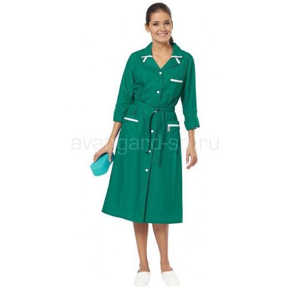 Халат женский Уют (цв. зеленый с бел. отд.) (распродажа)