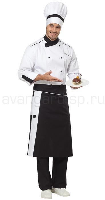 93a97f1dd6c00 Комплект повара Шеф (китель, брюки, фартук, колпак) цвет черный+белый